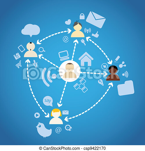 Diferrent nations of people network connections - csp9422170