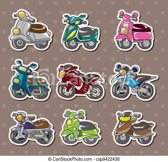 cartoon motorcycle stickers - csp9422438