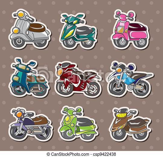cartoon motorcycle stickers - csp9422438