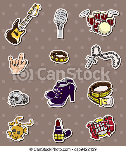 rock music band stickers - csp9422439