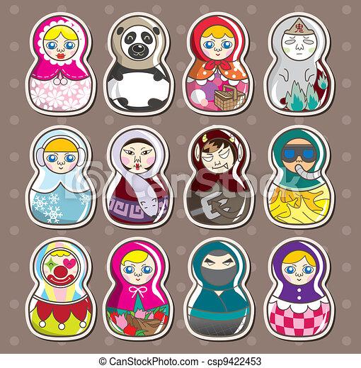 cartoon Russian stickers - csp9422453