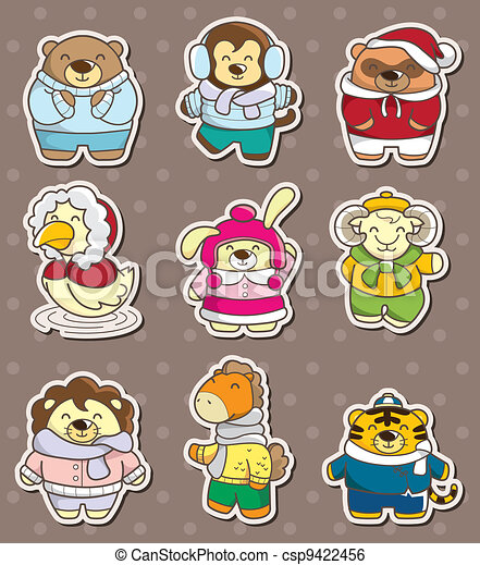 winter animal stickers - csp9422456