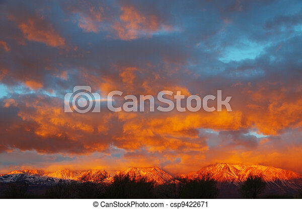 sierra mountain sunrise - csp9422671