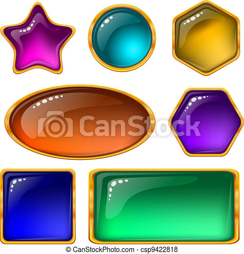Buttons with multicolored gems, set - csp9422818