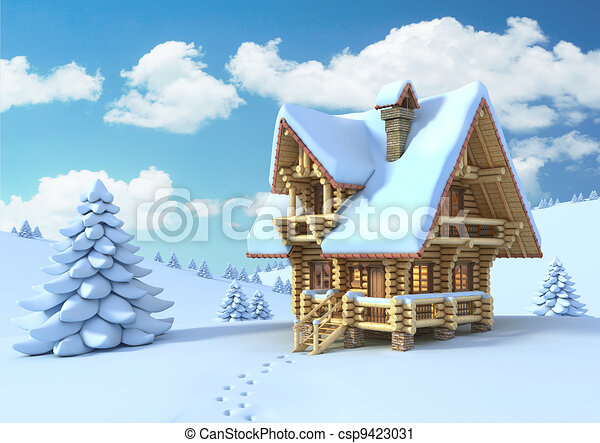 winter or Christmas scene   - csp9423031
