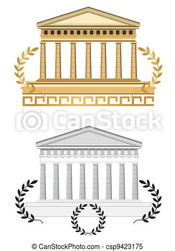 Antique Temple Facade - csp9423175