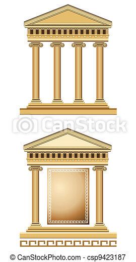 Antique Temple Facade - csp9423187