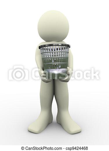 3d man carrying waste basket - csp9424468