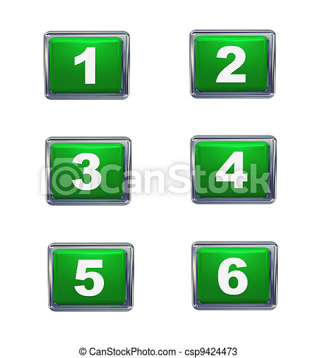 3d push button numbers series - csp9424473