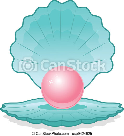 Pink pearl in shell - csp9424625