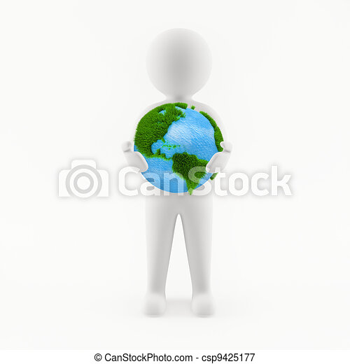 3D man holding planet Earth in his hands - csp9425177