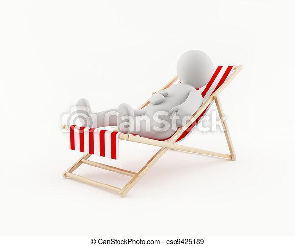 Illustration de chaise homme plage d lassant 3d 3d for Chaise 3d dessin