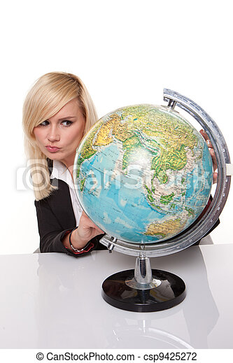 Woman planning her dream holiday - csp9425272