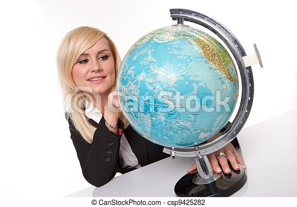 Woman planning her dream holiday - csp9425282