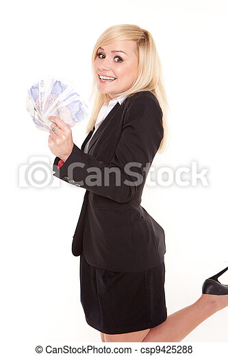 Ecstatic woman with a fistful of money - csp9425288