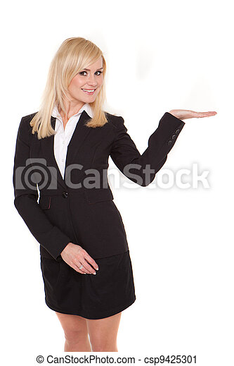 Businesswoman with open palm - csp9425301