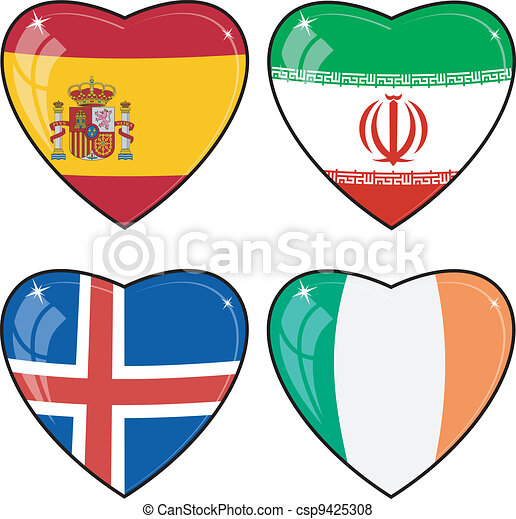 Set of vector images of hearts with the flags of Iran, Ireland, Iceland, Spain - csp9425308