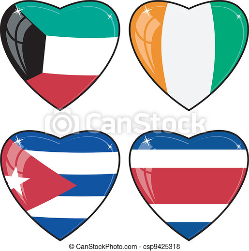 Set of vector images of hearts with the flags of Costa Rica, Cote d Ivoire, Cuba, Kuwait - csp9425318
