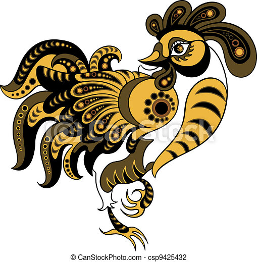 Rooster in decorative style - csp9425432