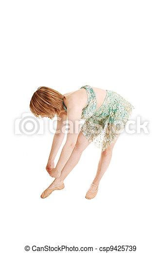 Bending down ballet girl. - csp9425739