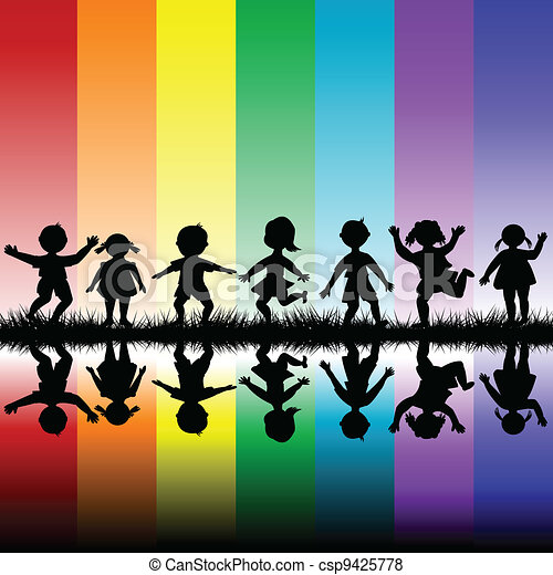 Kids playing over a rainbow background - csp9425778