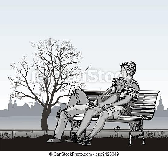 illustration de couple jeune banc noir et blanc vecteur csp9426049 recherchez des. Black Bedroom Furniture Sets. Home Design Ideas