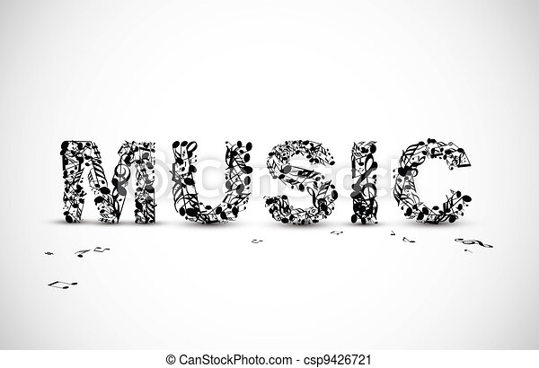 Vector music lettering made from black notes - csp9426721