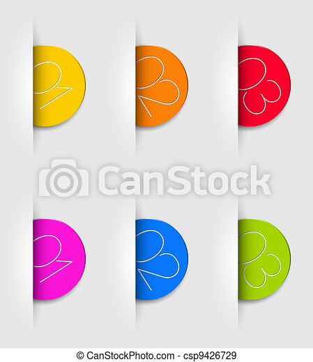 One two three - vector cards with numbers - csp9426729