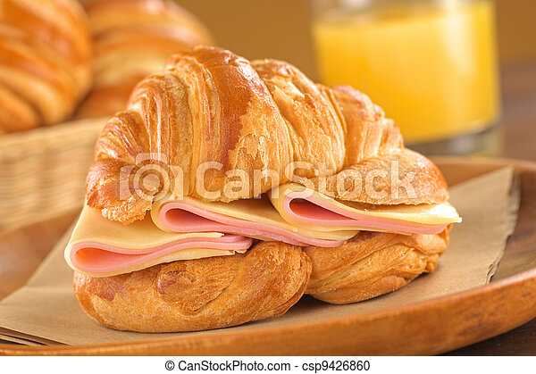 Croissant with Ham and Cheese - csp9426860
