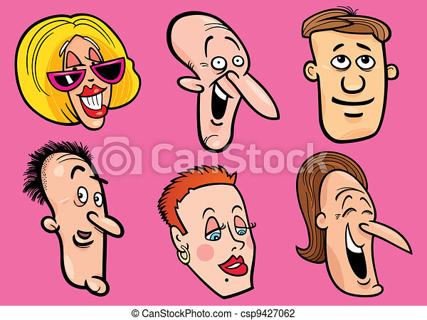 set of happy people faces - csp9427062