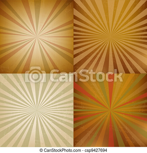 Vintage Sunburst Backgrounds Set - csp9427694