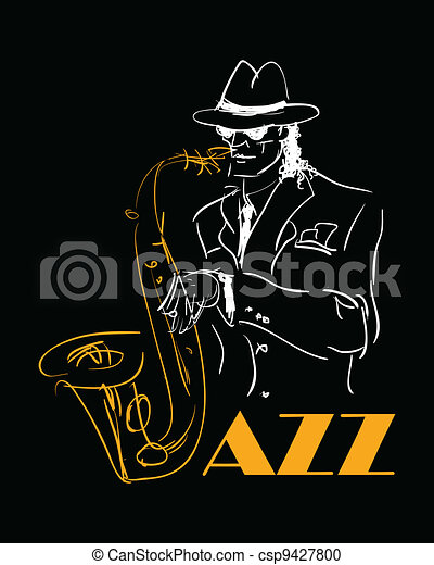 the saxophone player. - csp9427800