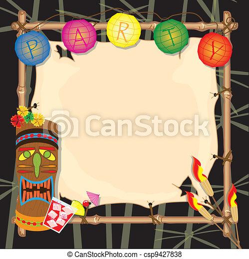 Tropical retro tiki or luau party  - csp9427838