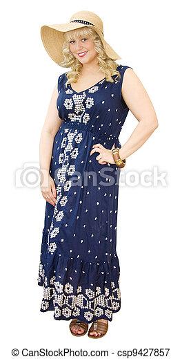 Summer fun - beautiful woman wearing straw hat and maxi dress - csp9427857