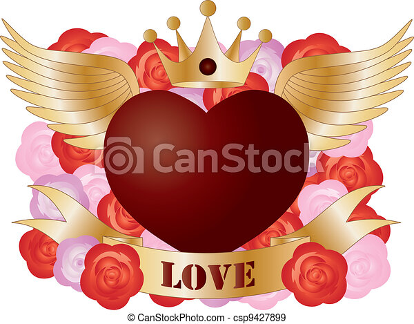 Flying Heart with Banner and Roses - csp9427899