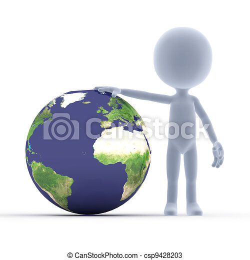 Toon guy and the earth. - csp9428203