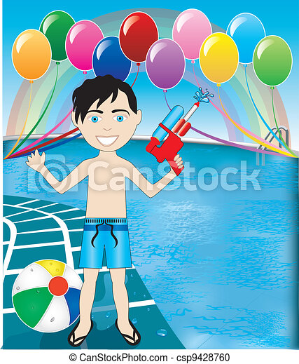 Pool Watergun Boy - csp9428760