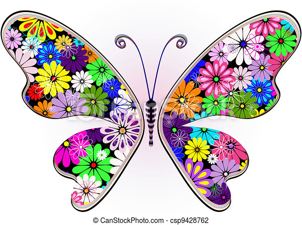 Vivid fantasy floral butterfly - csp9428762