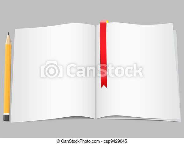 Pages with bookmark and pencil - csp9429045