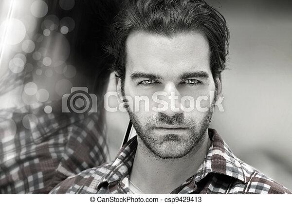 Masculine man face - csp9429413