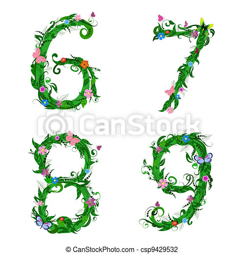 font numbers foliage insect - csp9429532