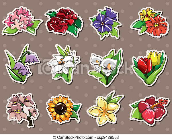 cartoon flower stickers - csp9429553