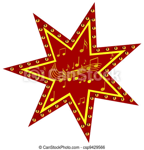 Red Star with notes - csp9429566