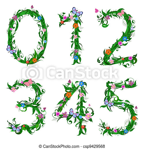 font numbers foliage insect - csp9429568