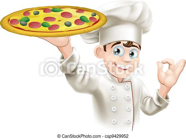 Okay Sign Pizza Chef Illustration - csp9429952