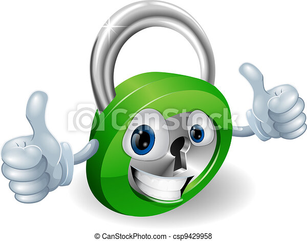 Thumbs up padlock cartoon character - csp9429958