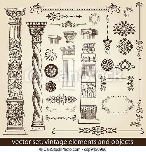 vintage elements - antique - vector - csp9430966
