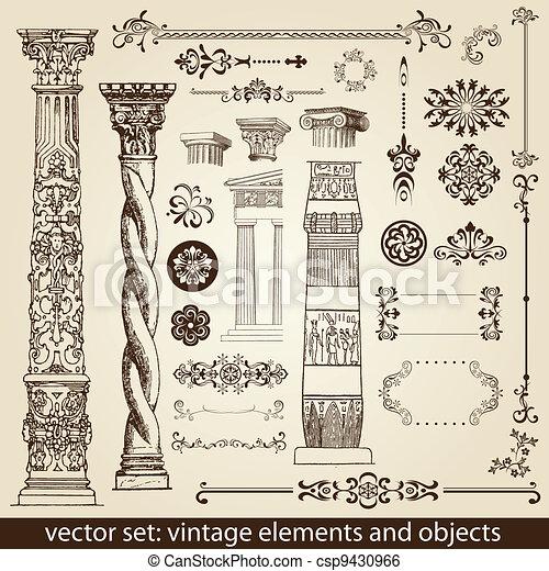 vintage elements - antique - vector - csp9430966
