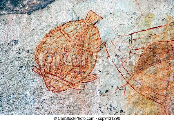 Aboriginal rock art - csp9431290