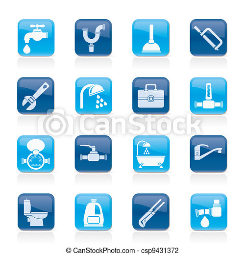 plumbing objects and tools icons - csp9431372
